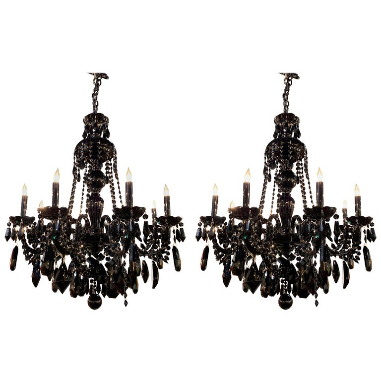 Pair of Modern Black Crystal 8-Light Chandeliers For Sale