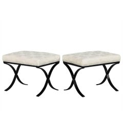 Pair of Modern Black Metal Base Ottomans