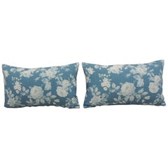 Pair of Modern Blue and White Quilted Cotton Floral Decorative Lumbar Pillows
