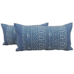Pair of Modern Blue and White Long Bolster Decorative Pillows