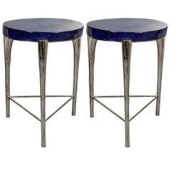 Pair of Modern Blue Pedestals