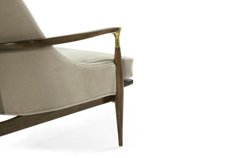 Pair of Modern Brass Accented Walnut Lounge Chairs, 1950s For Sale 2