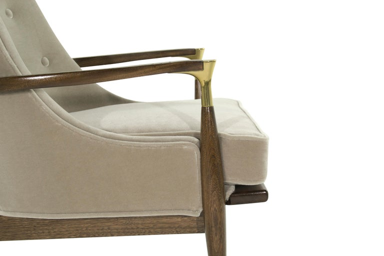 Pair of Modern Brass Accented Walnut Lounge Chairs, 1950s For Sale 3