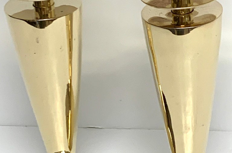 Polished Pair of Modern Brass Candlesticks by Sarreid For Sale
