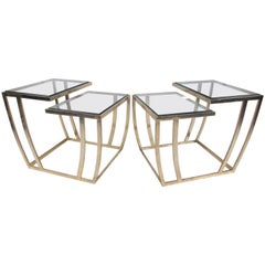 Pair of Modern Brass Finish End Tables
