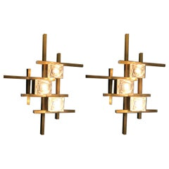 Pair of Modern Brass Sciolari Cube Sconces or Flush Mount, 1960