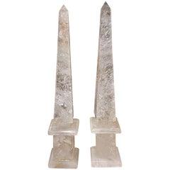 Pair of Modern Brazilian Rock Crystal Obelisks