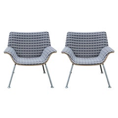 Pair of Modern Brian Kane for Herman Miller Swoop Lounge Chairs in Navy & White