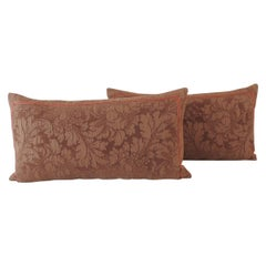 Pair of Modern Brown Tone-on-Tone Matelassé Long Bolster Decorative Pillows