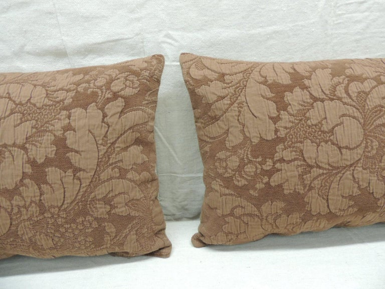 Portuguese Pair of Modern Brown Tone-on-Tone Matelassé Lumbar Decorative Pillows For Sale