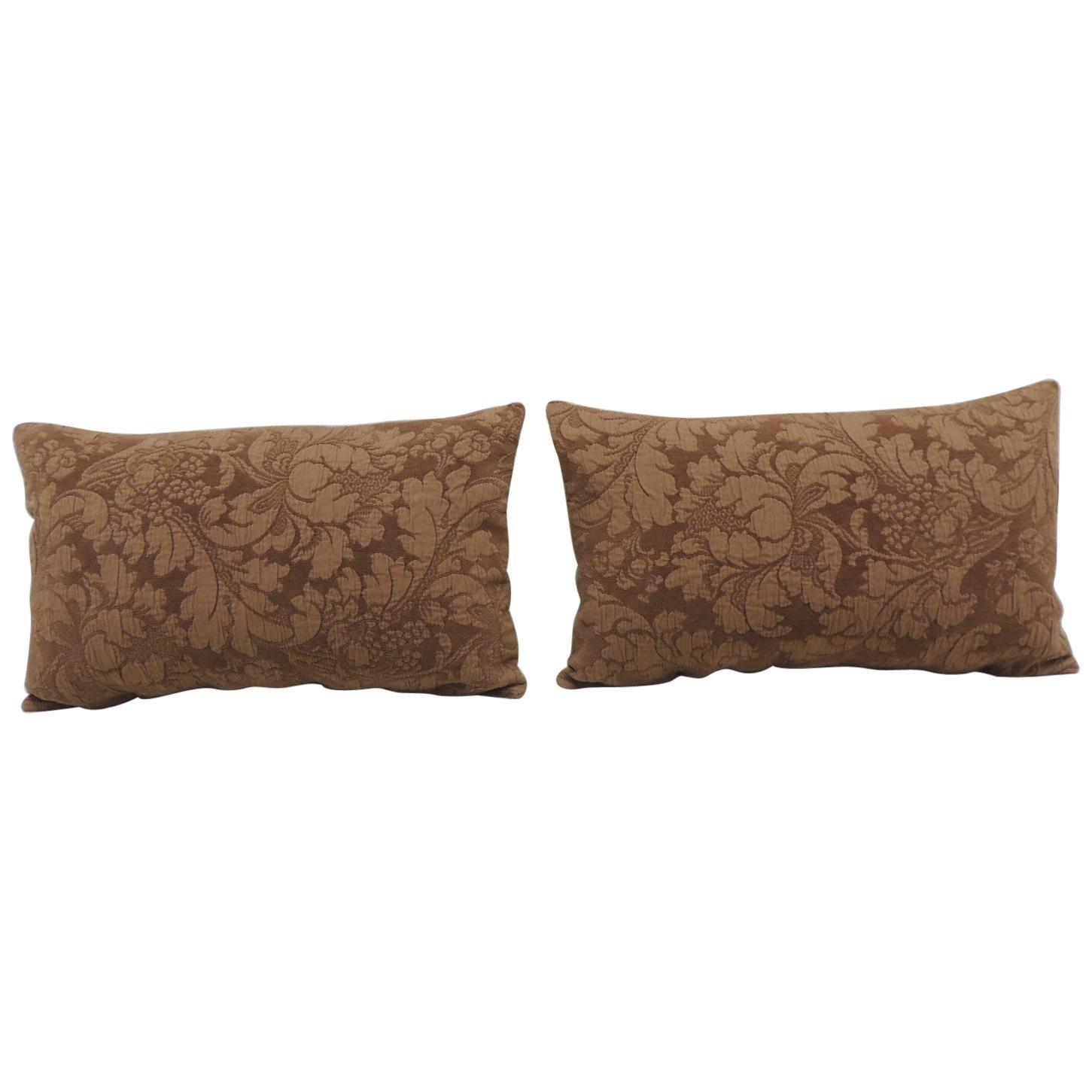 Pair of Modern Brown Tone-on-Tone Matelassé Lumbar Decorative Pillows