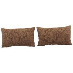 Pair of Modern Brown Tone-on-Tone Matelassé Lumbar Decorative Pillows
