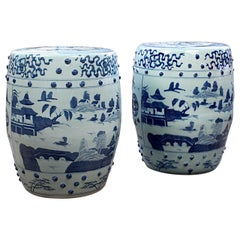 Pair of Modern Canton Chinese Export Porcelain Garden Seats