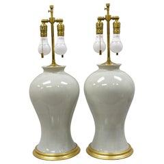 Pair of Modern Celadon Green Glazed Ceramic Brass Bulbous Stoneware Table Lamps