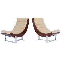 Pair of Modern Channel Lounge Chairs