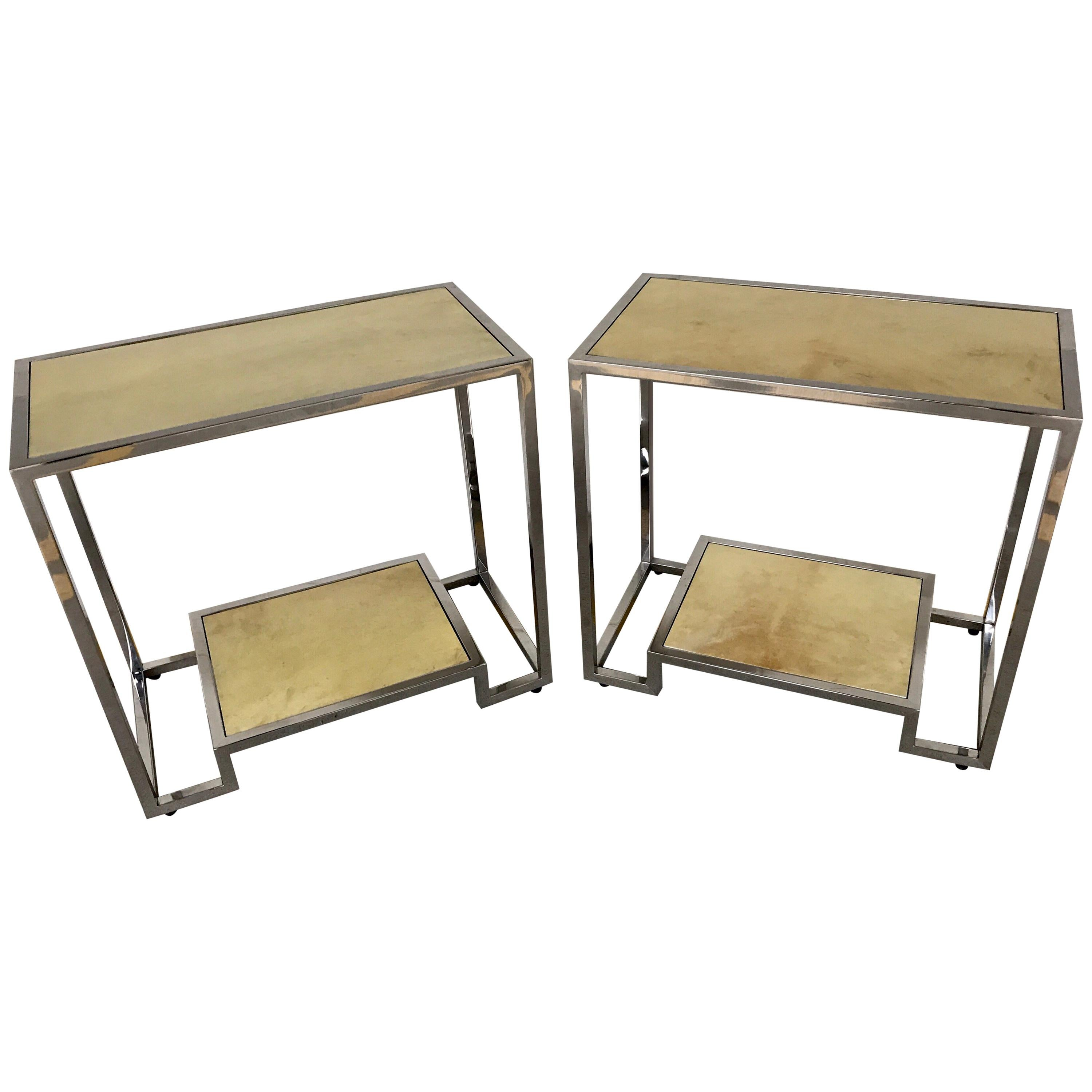 Pair of Modern Chrome and Parchment Two-Tier Side Tables