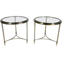 Pair of Modern Chrome End Tables