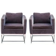 Pair of Modern Chrome Milo Baughman Cube Chairs for Thayer Coggin Mohair