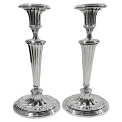 Pair of Modern Classical English Sterling Silver Candlesticks