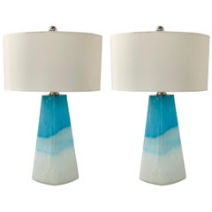 Pair of Modern Colorful Glass Lamps