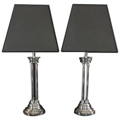 Pair Columned Table Lamps Chrome Finish with Silk Black White Lampshades