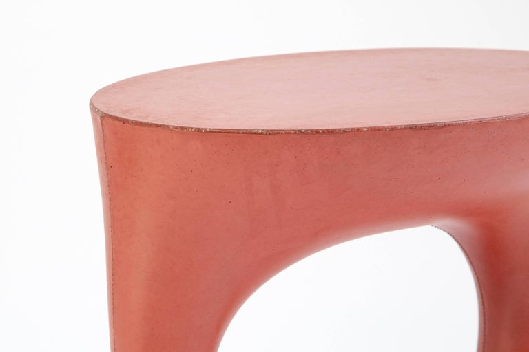 Cast Pair of Modern Concrete Kreten Side Tables in Red from Souda, Made to Order For Sale