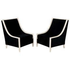 Pair of Modern Cream Armchairs in Black Velvet