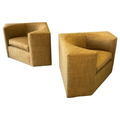 Pair of Modern Cube Lounge Club Chairs, 1970s