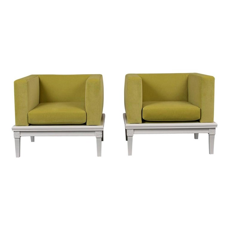 Pair of Modern Cube Style Lounge Chairs For Sale
