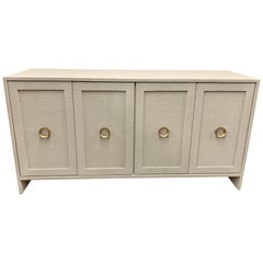 Pair of Modern Custom Four Door Linen Wrapped Credenzas Sideboards Consoles