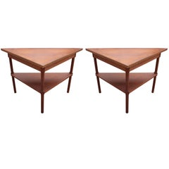 Pair of Modern Custom Walnut Demilune Entry Tables with Greek Key Trim