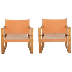 Pair of Modern Danish Safari Armchairs in Wood and Bleached Orange Canvas