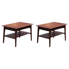 Pair of Modern Danish Teak Side or End Tables with Drawers