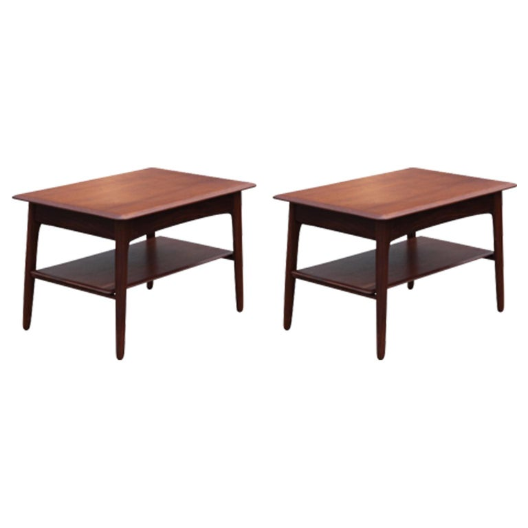Pair of Modern Danish Teak Side or End Tables with Drawers For Sale