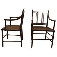 Pair of Modern Dark Fruitwood Armchairs