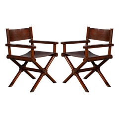 Pair of Modern Directors Chairs in Distressed Leather
