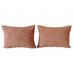 Pair of Modern Dusty Pink Tone-on-Tone Matelassé Bolster Decorative Pillows