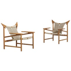 """Pair of Modern Easy Chairs, Model """"Bull"""" Handcrafted Danish Manufacture"""