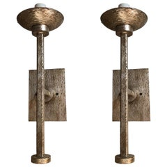 Pair of Modern Elongated Textured Sconces