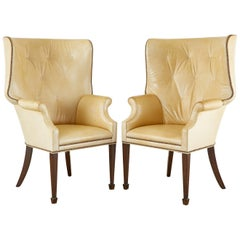 Pair of Modern English Georgian Style Tufted Leather Wingback Chairs