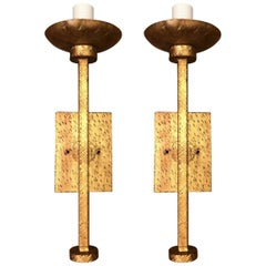 Pair of Modern Faceted Sconce with Shade