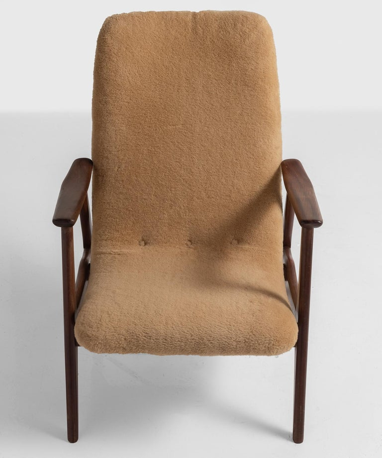 Swedish Pair of Modern Faux Wool Armchairs, Sweden, circa 1950 For Sale