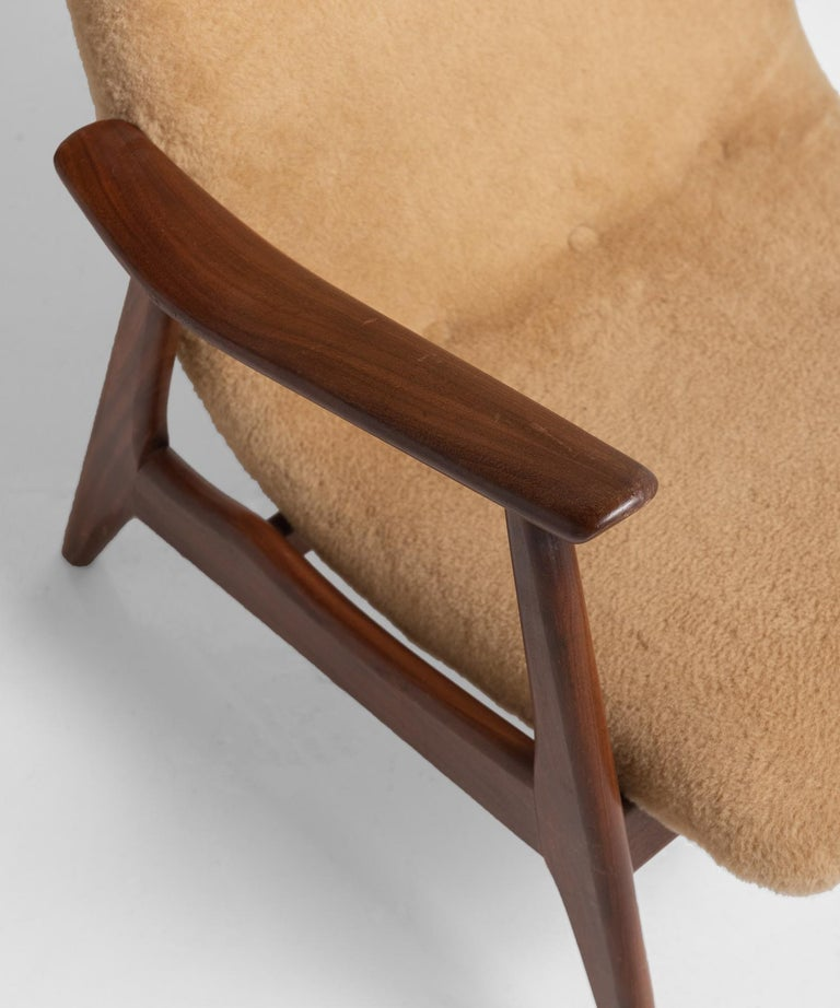 Teak Pair of Modern Faux Wool Armchairs, Sweden, circa 1950 For Sale