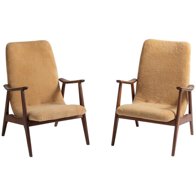 Pair of Modern Faux Wool Armchairs, Sweden, circa 1950 For Sale