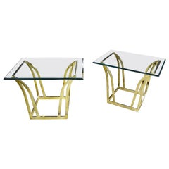 Pair of Modern Flared Shape End Tables of Brass-Plated Steel with Glass Tops