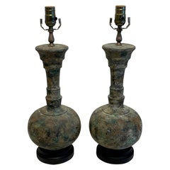 Pair of Modern French Acid Washed Bronze Lamps