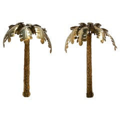 Pair of Modern French Bronze Palm Shaped Wall Lamp Shades or Ornaments
