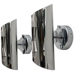 Pair of Modern French Maria Pergay Style Steel Wall Lamps, 1970s