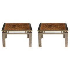 Pair of Modern Geometric Brass and Burled Wood Side Tables