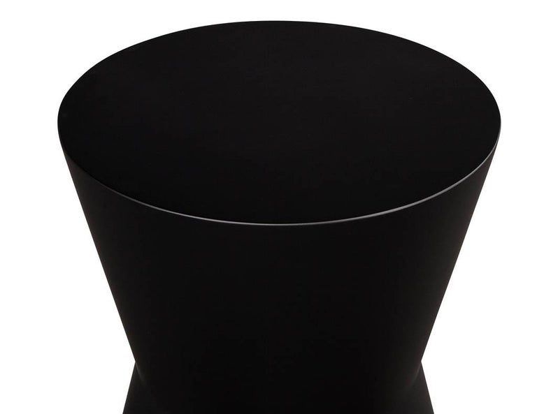 Late 20th Century Pair of Modern Geometric Shaped Solid Wood Accent Tables in Black Lacquer For Sale